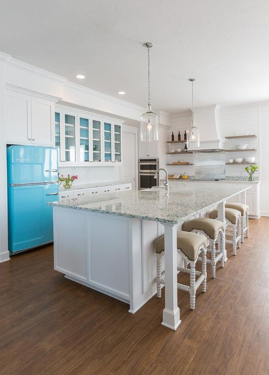 turquoise recycled glass countertops - cottage