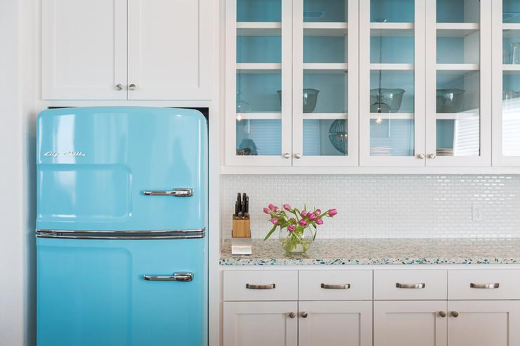 White Kitchen with Turquoise Accents  Cottage  Kitchen