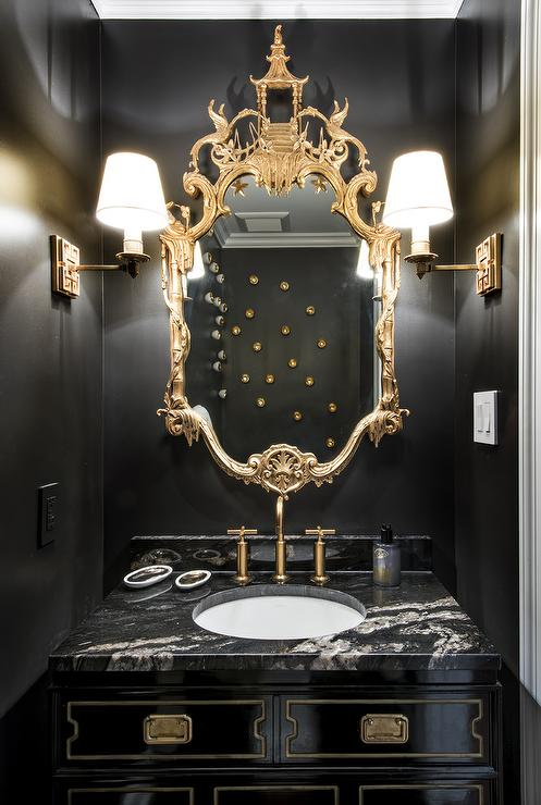 chinoiserie powder room asian bathroom hickman design associates. Black Bedroom Furniture Sets. Home Design Ideas