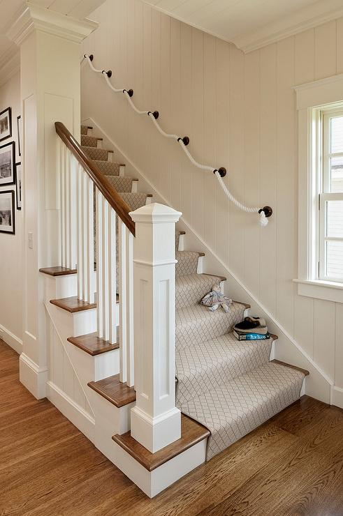 Staircase With Rope Hand Rail