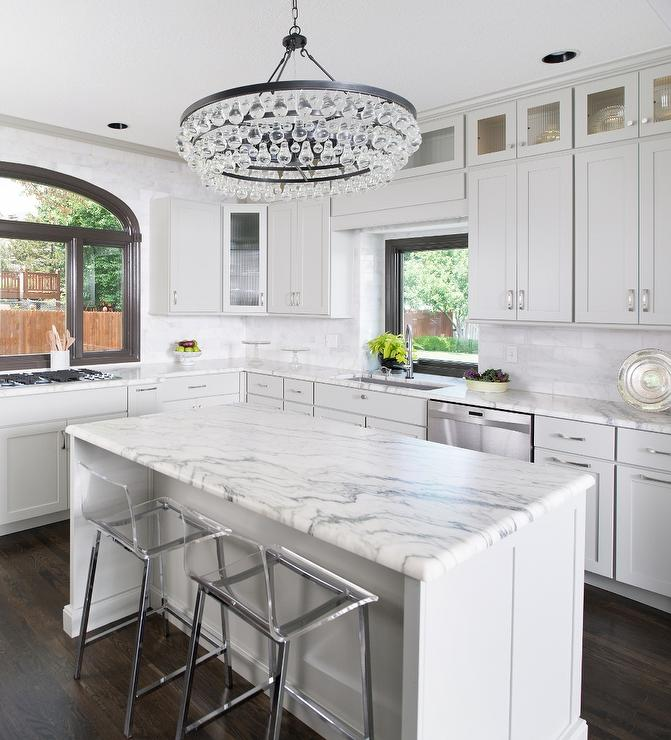 Grey Kitchen Marble: Gray Kitchen Cabinets With White Marble Top Design Ideas