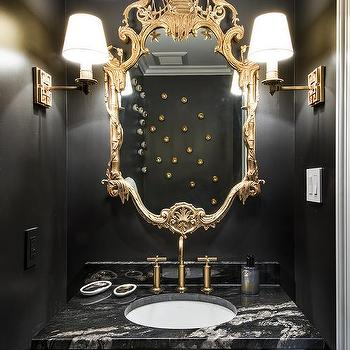 Wonderful Gold And Black Powder Rooms