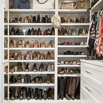 Walk In Closet with Built In Shoe Shelves, Transitional, Closet