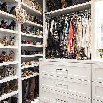 Closet with Built in Boot Shelves, Transitional, Closet