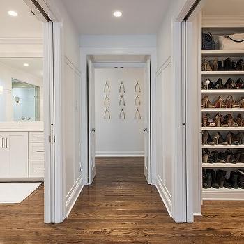 Master Closet with Sliding Doors, Transitional, Closet