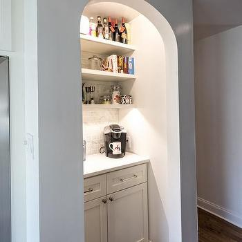 Kitchen with Arched Coffee Station Nook, Transitional, Kitchen