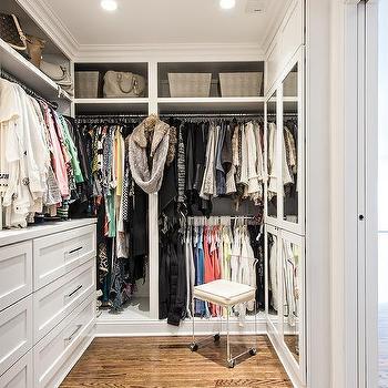 Closet with Lucite Stool, Transitional, Closet