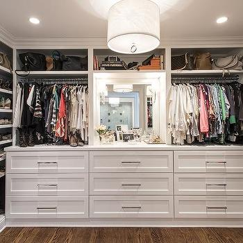 Walk In Closet with Built In Dressers, Transitional, Closet
