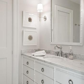 White Bamboo Bathroom Vanity, Transitional, Bathroom