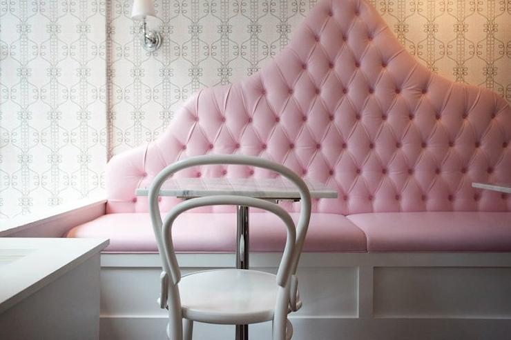 Pink Tufted Dining Banquette