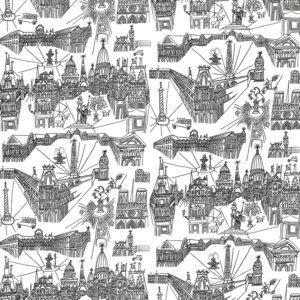 Schumacher Views Of Paris Black On White Fabric