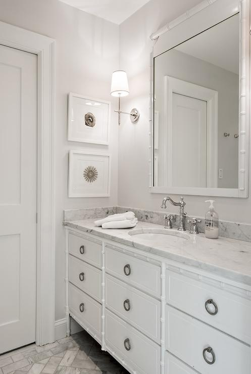 White Bamboo Bathroom Vanity