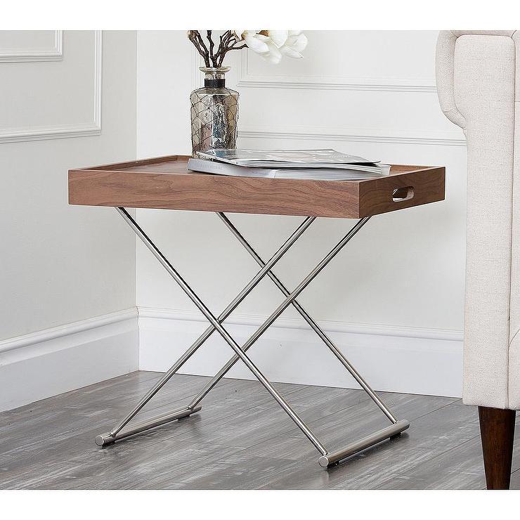 pedestal chrome glass end table side