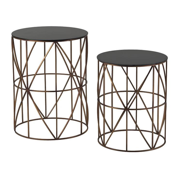 Gold finish round metal accent tables for Round gold side table