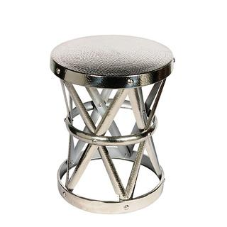 Silver Hammered Drum Cross Nickel Table And Stool