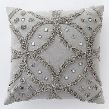 Feather Gray Candlewick Circle Pillow Cover