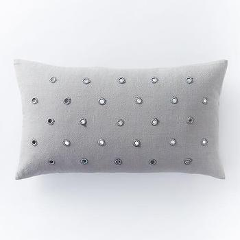 Feather Gray Mirrored Dot Pillow Cover