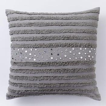 Feather Gray Candlewick Stripe Pillow Cover