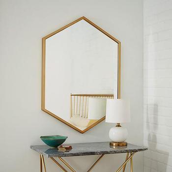 Metal Hexagon Framed Mirror