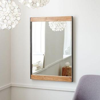 Metal and Wood Wall Mirror