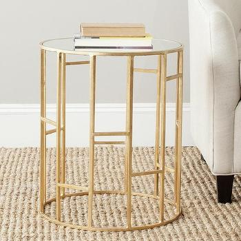Safavieh Treasures Doreen Gold Mirror Top Accent Table
