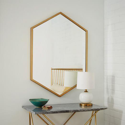 Metal Hexagon Framed Brass Mirror