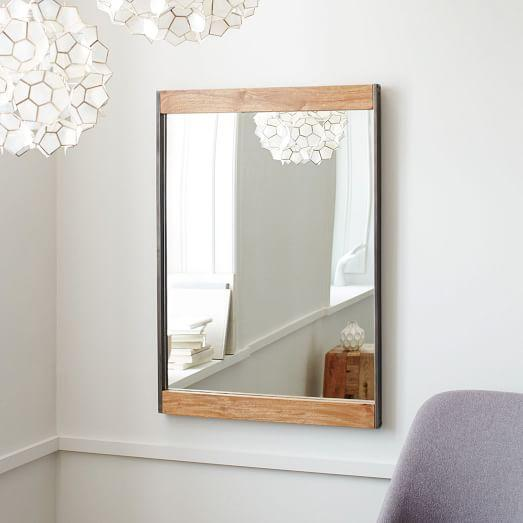 Metal And Wood Natural Wall Mirror