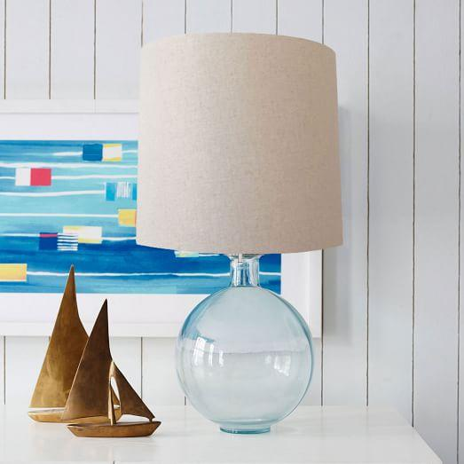 recycled glass light green table lamp