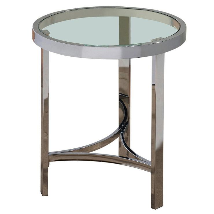 Delightful Glass Silver Accent Table