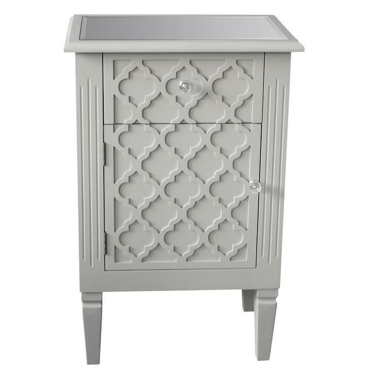 Sophia Grey Accent Table With Pattern Front