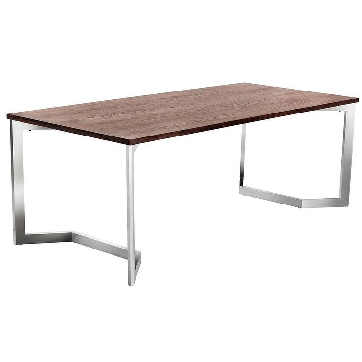 sunpan revolver brown walnut top and silver stainless steel dining table