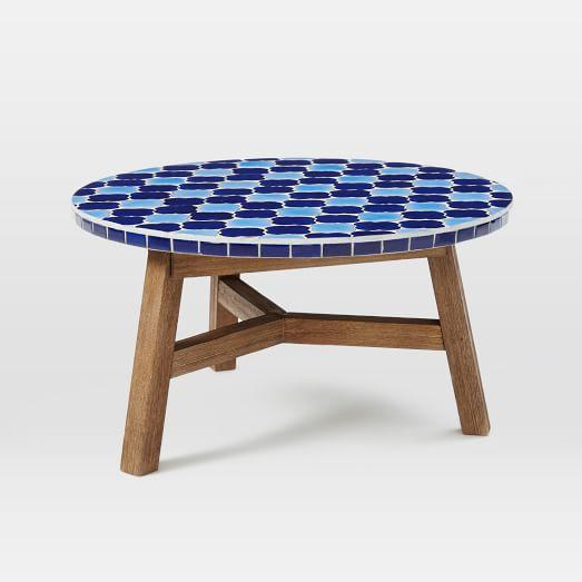 Wondrous Mosaic Tiled Brown And Blue Coffee Table Ocoug Best Dining Table And Chair Ideas Images Ocougorg