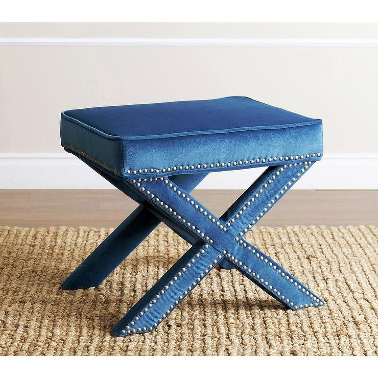 Fantastic Abbyson Living Marcus Petrol Blue Nailhead Trim Ottoman Bench Theyellowbook Wood Chair Design Ideas Theyellowbookinfo