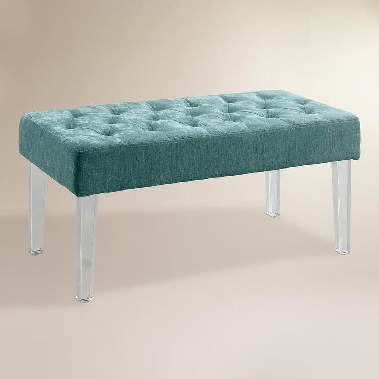 Turquoise Velvet Acrylic Leg Ottoman