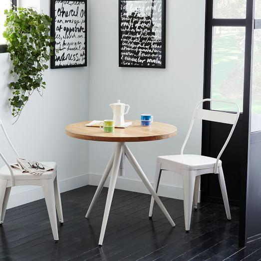 Round Adjustable Natural And White Bistro Table