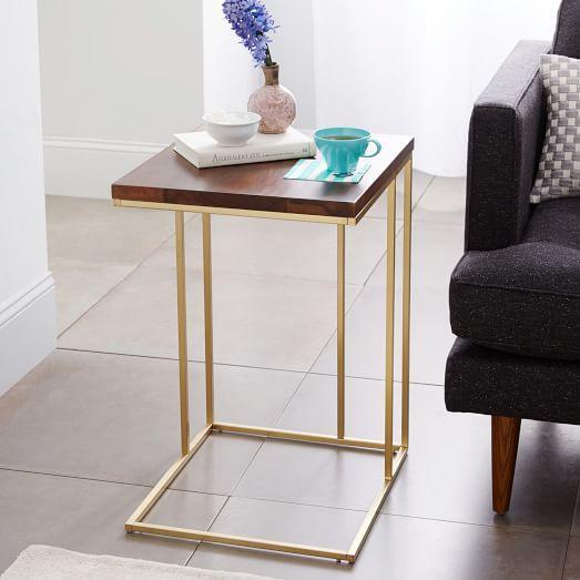 Marvelous Grid Frame Gold Side Table