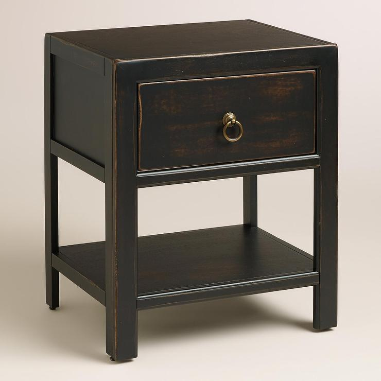 Black Wood Ovid Nightstand