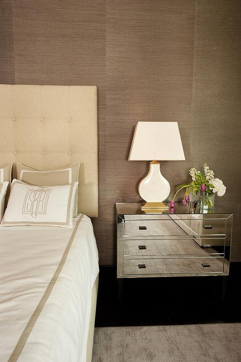 Cream damask headboard with cream fabric nightstand for Brown and cream bedroom