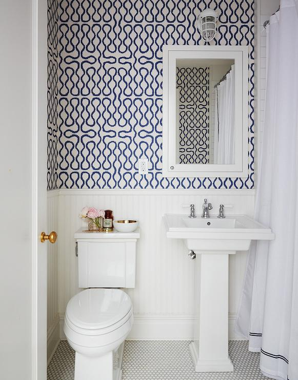White shower curtain with navy trim design ideas for Wallpaper trends for bathrooms
