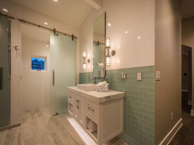 shower with frosted glass barn door - Frosted Glass Barn Door