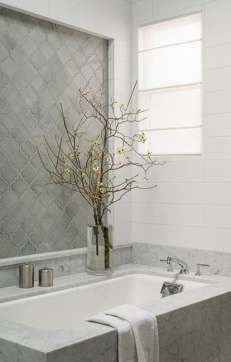 Gray Arabesque Bathroom Tiles, Transitional, Bathroom
