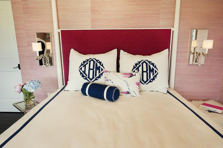pink grasscloth - contemporary - bedroom