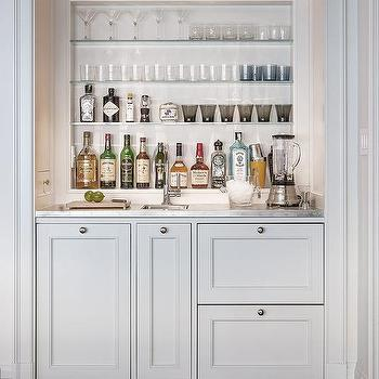 Wet Bar Nook with Glass Shelves, Transitional, Kitchen, Benjamin Moore Smoke Embers