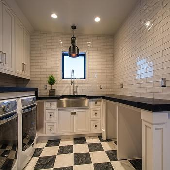 Laundry Room with Checkered Floors, Transitional, Laundry Room