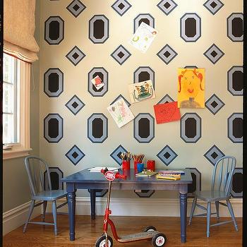 Blue Playroom Desk, Contemporary, Boy's Room