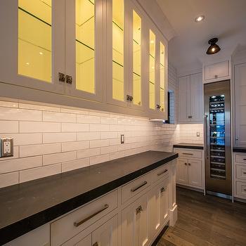 Butler Pantry with Tall Wine Fridge, Modern, Kitchen