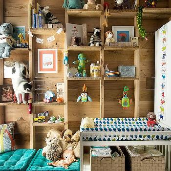 Nursery with Rustic Built In Shelving, Transitional, Nursery