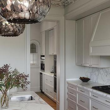 Soane Owl Lanterns, Transitional, Kitchen, Benjamin Moore Revere Pewter