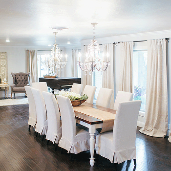 White Farmhouse Dining Table, French, Dining Room