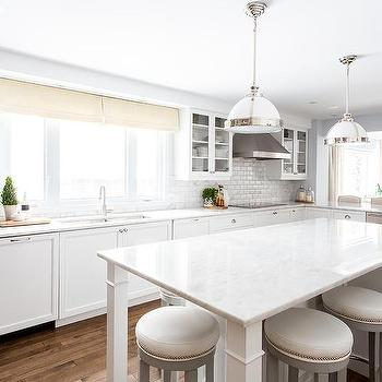 White Kitchen Island with Gray Barstools, Transitional, Kitchen